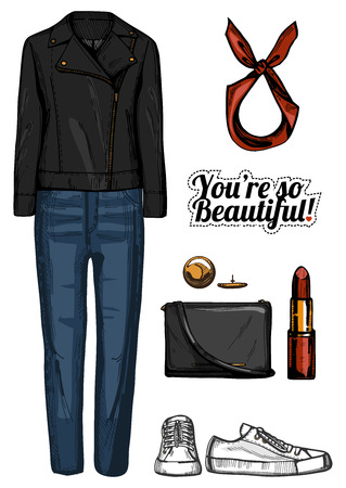 Vector illustration of women fashion clothes look set. Black double sided rider leather jacket, clutch bag, red lipstick, white sneakers, red hair band. Ink hand drawn style, colored. Illusztráció