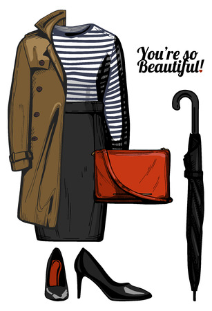 A Vector illustration of women fashion clothes look set. Trench coat,stripped top blouse, pencil skirt, red crossbody bag, umbrella, black patent leather pumps shoes. Ink hand drawn style, colored.