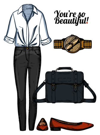 A Vector illustration of women fashion clothes look set. White knotted shirt, black skinny jeans, satchel bag, red pointed ballerinas shoes, golden watch. Ink hand drawn style, colored.