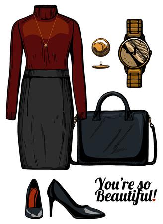 Vector illustratie van vrouwen mode kleding kijken. Turtleneck blouse, potlood rok, gestructureerde tas, lakenspompen schoenen, gouden horloge. Ink handgetekende stijl, gekleurd.
