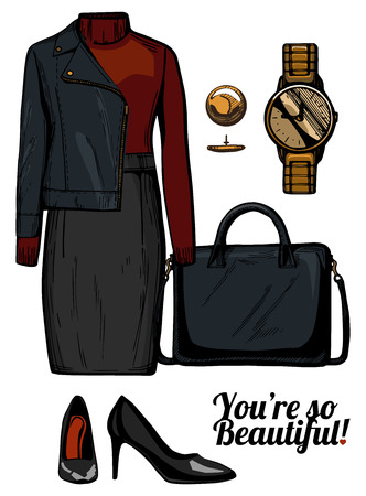 Vector illustratie van vrouwen mode kleding kijken. Turtleneck top, ruiter jas, gestructureerde tas, gouden horloge en lakens zwarte pumps.Ink handgetekende stijl, gekleurd.