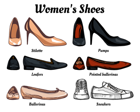 Womens shoes types classification set. Oxfords, loafers, simple and pointed ballerinas, pumps, stilettos. Illustration