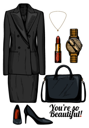 Vector illustration of women fashion clothes look set.Formal business womens suit with double breasted jacket and pencil skirt, black patent leather pumps, structured bag, golden watch and earrings. Ink hand drawn style, colored.