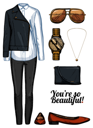Vector illustration of women fashion clothes look set. Leather rider jacket, white shirt, black skinny jeans, red pointed balerinas shoes, aviator sunglasses, golden watch and pendant, crossbody bag. Ink hand drawn style, colored.