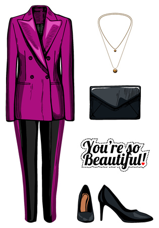 Vector illustration of women fashion clothes look set. Pink double breasted jacket, black pants with side stripes, black patent leather pumps, clutch bag, golden pendant. Ink hand drawn style, colored.