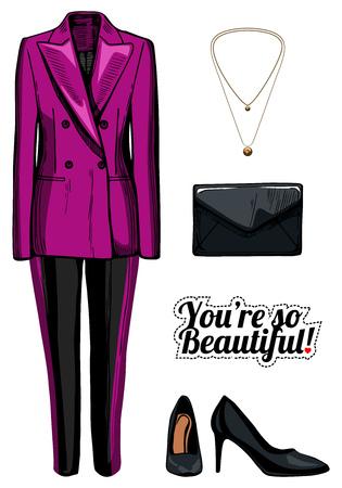 Vector illustratie van vrouwen mode kleding kijken. Roze dubbele borstjas, zwarte broek met zijstrepen, zwarte laklederpompen, koppelingszak, gouden hanger. Inkt handgetekende stijl, gekleurd.