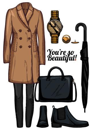 De vectorillustratie van de kleren van de vrouwenmanier ziet reeks eruit. Engelse cameljas met dubbele rij knopen, skinny jeans, gouden horloge, zwarte chelsea-laarzen, gestructureerde tas, klassieke paraplu. Stock Illustratie