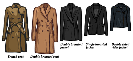 Vector illustration of womens jackets types set. Trench coat, classic double breasted wool cashmere coat, double and single breasted suit business jacket, double sided rider jacket.