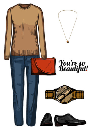 Vector illustration of women fashion clothes look set. Boyfriend jeans, beige cashmere sweater, red crossbody bag, gold watch and pendant, black oxford shoes.