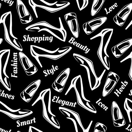 Vector illustration of high heels pumps shoes seamless pattern. Black and white, monochrome, good for silk screen printing. On black background.