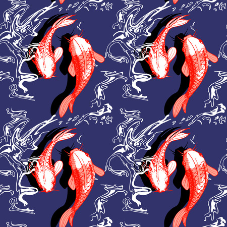 Vector illustration of koi fish seamless pattern. Japaneese style print, optical illusion. Dark blue background, bright red elements.