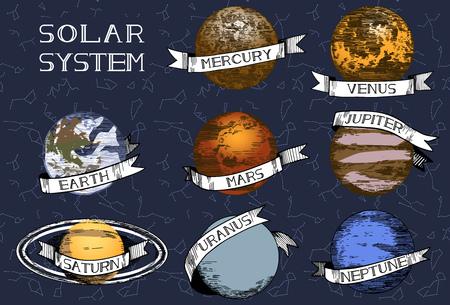Vector illustration of solar system planets set. Mercury, Venus, Earth, Mars, Saturn, Jupiter, Uranus, Neptune. Hand drawn colored illustration.