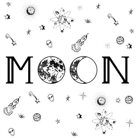 Vector illustration of inscription: Moon, with two moons in different phases on the place of O-s, surrounded with tiny space-related images in a doodle manner.On white.