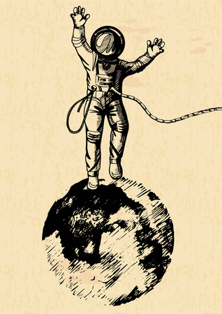 Vector illustration of astronaut standing on the moon. Vintage engraving style on old yellow paper sheet.