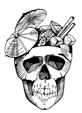 Cuba libre with paper umbrellas in a skull. Cocktail party emblem, vintage hand-drawn style.