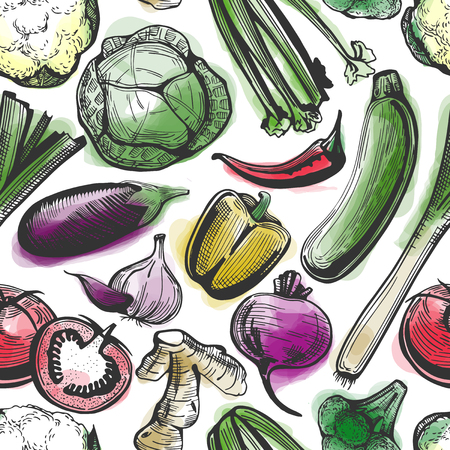 Vector seamless ink and watercolor pattern of hand-drawn vegetables on white. Broccoli, cauliflower, cabbage, beetroot, potatoes, aubergine, zucchini, carrot, onion, celery, ginger, garlic, tomatoes, cucumber, pepper, chili, leek