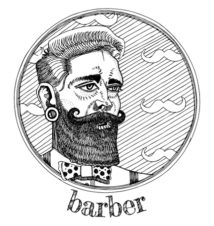 Vector illustration of male portrait profession barber. Ink drawn style.