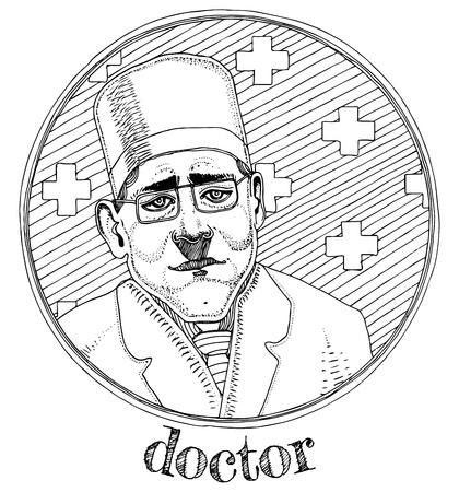 Vector illustratie van mannelijke portret beroep arts. Inkt getekende stijl Stock Illustratie
