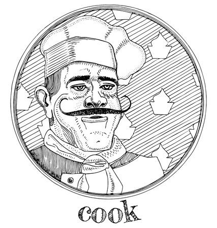 Vector illustratie van mannelijke portret van beroep restaurant kok.Hand getekende gravure stijl. Stock Illustratie