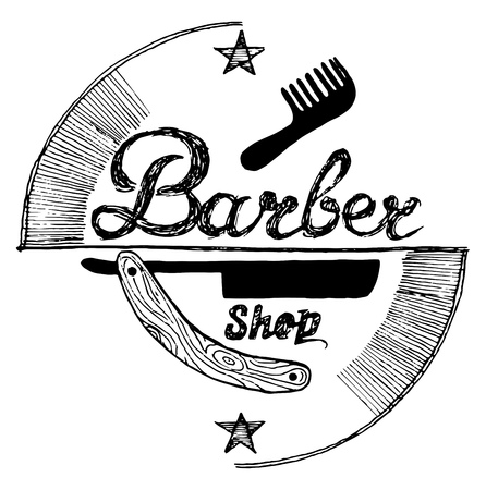 Vector illustration of old fashioned engraving style emblem for barber shop. Vintage drawing style.
