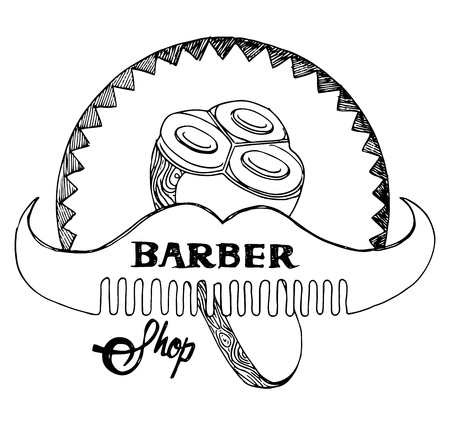 trim: Vector illustration of old fashioned engraving style emblem for barber shop. Vintage drawing style.