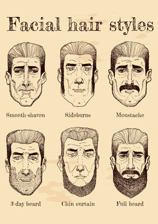Vector illustration of facial hair styles: beards, moustaches, stubble, sideburns in different forms and types. Vintage hand drawn style.