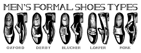 Vector illustration of mens formal suit shoes: oxford, derby, blucher, loafer, monk. Ultimate guide in vintage drawing style. Black and white.