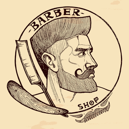 Vector illustration of barber shop emblem with handsome man with beard, sideburns, moustaches and straight razor. Vintage hand-drawn style.