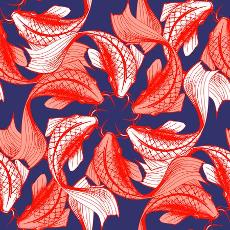 잉어 물고기 원활한 패턴의 벡터 일러스트 레이 션. Japaneese 스타일 인쇄, 착시입니다. 어두운 파란색 배경, 밝은 빨간색 요소입니다. 일러스트