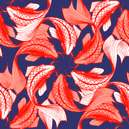 Vector illustratie van koi vis naadloze patroon. Japanse stijldruk, optische illusie. Donkerblauwe achtergrond, heldere rode elementen.