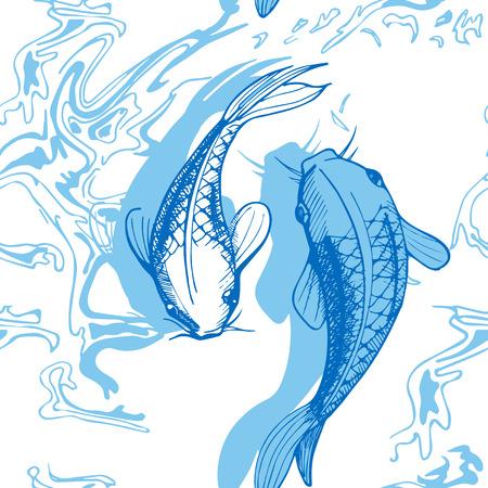 Vector illustration of koi fish seamless pattern. Japaneese style print, optical illusion. White background, light blue elements. Illustration