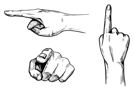 Vector illustration set of a hands pointing in different directions: top, side, front. Hand pointing on you. Illustration