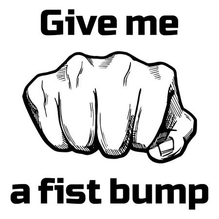 Illustrazione vettoriale di un pugno di mano davanti a mano in fumetto disegnato a mano o stile vintage con iscrizione: darmi un pugno di pugno. Archivio Fotografico - 81816936