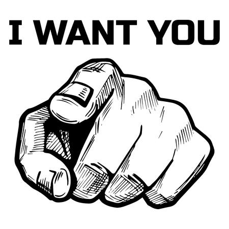 Ilustración vectorial de un dedo de la mano apuntando directamente sobre usted con la inscripción: Te quiero. Estilo dibujado mano de la vendimia o del cómic.
