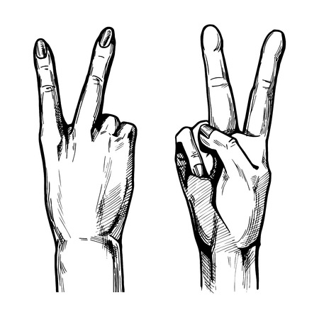 Vector illustration of Victory hand symbol with 2 fingers wide spread from the front and back (palm) side. Vintage hand drawn or comic book style. Ilustração
