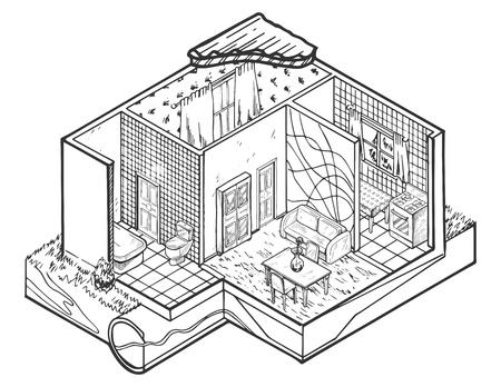 Vector illustration of House interior hand drawn architecture illustration.