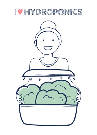 Vector illustration of a happy smiling woman with home hydroponic system full of lettuce. Inscription I love hydroponics. Cute hand drawn style.