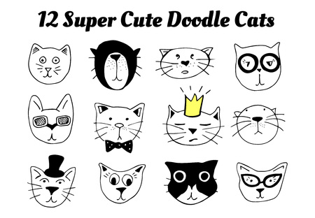 Vector illustration of 12 super cute doodle cats. Pet animals portraits with different emotions: funny, sad, surprised, proud, high-minded, etc. Raw sketchy style of drawing.