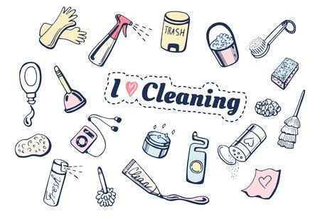 Vector illustration of I love cleaning icons set. Different items: gloves, spray, trash bin, gel, brush, dishwashing sponge, player, toilet cleaner, plunger.
