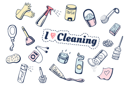 Vector illustration of I love cleaning icons set. Different items: gloves, spray, trash bin, gel, brush, dishwashing sponge, player, toilet cleaner, plunger.