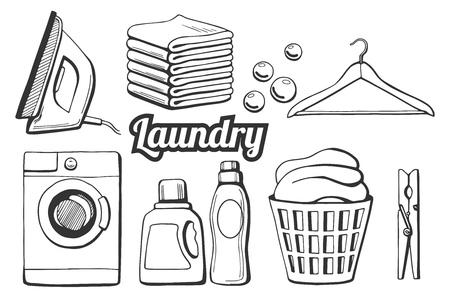 Ilustracji wektorowych zestawu ikon pralni. Różne przedmioty: żelazko, kupa ręczników, bąbelki mydlane, wieszak, pralka, mycie butelek chemikaliów jako żel i zmiękczacz, kosz do prania, clothespin. Styl rysowany ręcznie.