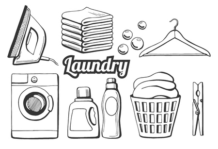 Vector illustration of a laundry icons set. Different objects: iron, towels pile, soap bubbles, hanger, washing machine, washing chemicals bottles as gel and softener, laundry basket, clothespin. Hand drawn style.