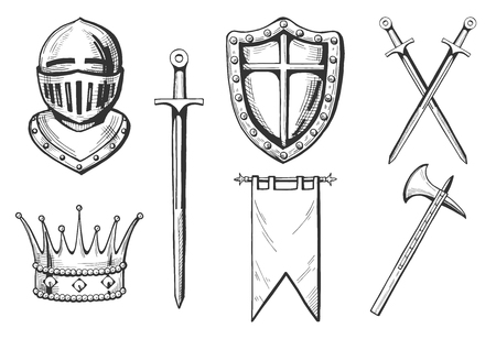 Set of middle age icons in hand drawn engraving style. Illustration