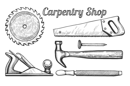 Set illustration of woodworking or carpentry equipment tools icons.