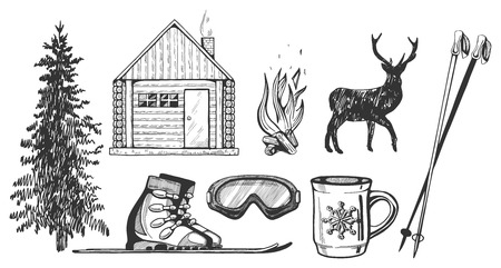 Vector illustration of winter hiking camp tourism icons set.  일러스트