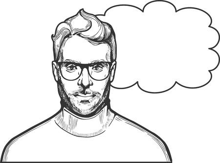 Illustration vectorielle de l'homme dessiné à l'encre dans des verres avec une coiffure élégante et la barbe portant le col roulé. Close-up portrait dans un style vintage dessiné à la main. Banque d'images - 90062787