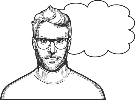 Vector illustration of ink drawn man in glasses with a stylish hairstyle and beard wearing roll-neck. Close-up portrait in hand-drawn vintage style.