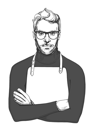 Vector illustration of ink drawn man in glasses and apron. Close-up portrait of a chef or woodworker in hand-drawn vintage style.  向量圖像