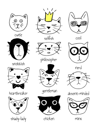Vector illustration of 12 super cute doodle cats with character labels: cutie, selfish, cool, snobbish, philosopher, nerd, heartbreaker, gentleman, abscent-minded, shady-lady, chicken, minx.