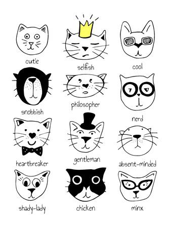Vector illustratie van 12 super leuke doodle katten met karakteretiketten: schatje, egoïstisch, cool, snobistisch, filosoof, nerd, hartenbreker, heer, abscent-minded, schaduwrijke-dame, kip, minx.